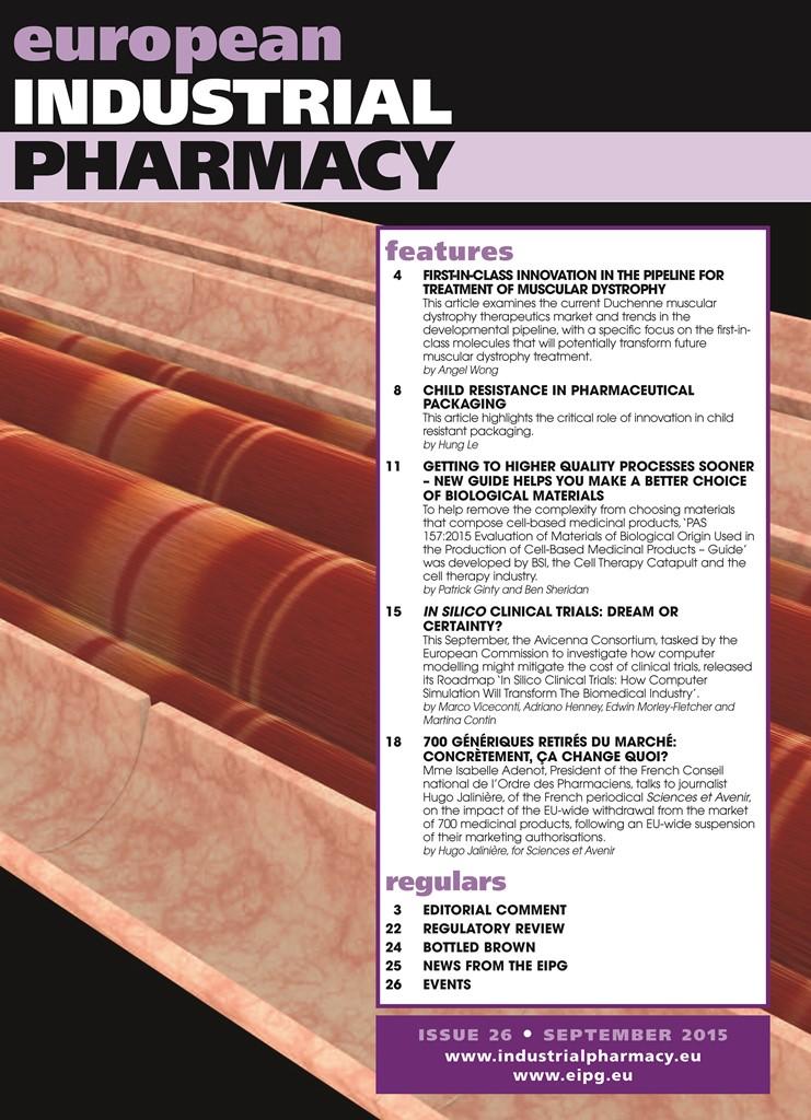 european industrial pharmacists group European industrial pharmacy issue 35 editorial comment: the end of the beginning.